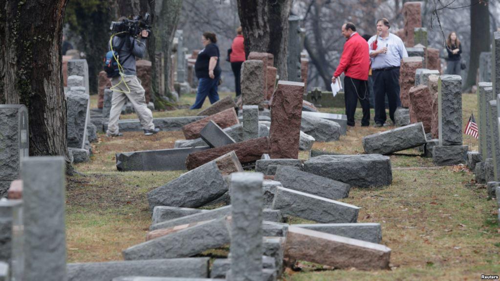 Dozens of headstones toppled at Philadelphia Jewish cemetery